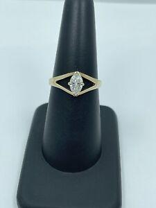 14K Gold ~ 2/3 ct Marquise DIAMOND split shank Engagement Ring