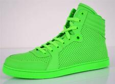 NEW GUCCI MEN'S 322730 NEON GREEN HI HIGH TOP LEATHER SNEAKERS SHOES~13.5 14