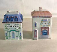 2 The Lenox Village Individual Spice Jars Tarragon And Dill
