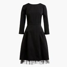 J.Crew Long Sleeve Sheath Dress With Tulle Hem Black Size 0 $198 H2851 - NWT