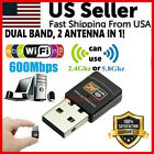 Mini Dual Band 600Mbps USB WiFi Wireless Adapter Network Card 2.4/5GHz 802.11 AC