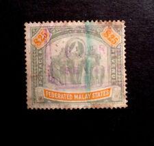 Federated Malay States Sg 51 1909 $25 Green & Orange Used