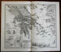 Greece Macedonia Greek Islands Ionian Sea Crete Aegean Athens 1875 Stieler map