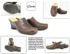Women's Clark's Brown Leather 77473 Wedge Closed Clogs:Size 7 M