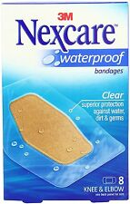 3x Pack Nexcare Waterproof Clear Bandages Knee & Elbow 8 Each (24pcs total)