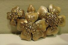 Enamel,Genuine Crystals,Floral Brooch Pretty Vintage Style,Signed Chico's,