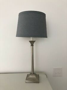 Restoration Hardware Brushed Nickel Table Lamp and Shade EUC