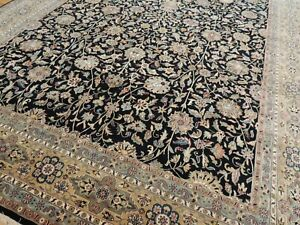 10x14  Tabrize  Oriental Area Rug hand-knotted Black Rust TEAL Green wool