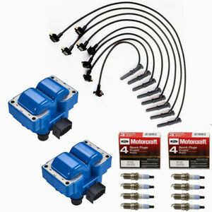 Ignition Coils Turn Up Kits + Motorcraft SP432 Spark Plugs For Ford Mazda Blue
