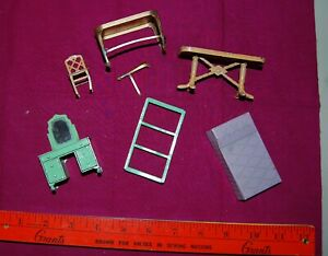 6 VTG Tootsie Toys dollhouse furniture dresser bed tables chair