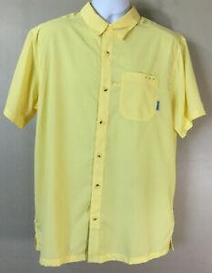 Columbia PFG Men's Size Large Yellow Short Sleeve Lightweight Button Down Shirt
