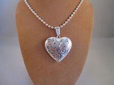 """UK Jewellery estilo de Corazón de Plata Foto Colgante + 20"""" Bola Cadena de cuentas"""