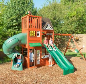 Kids Garden Playhouse Outdoor Children Playcentre Large Tree House Swing Set