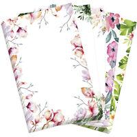 50 Blatt Briefpapier 5 x 10 A4 Briefbögen Motivpapier Bastelpapier Blumen Mix 1
