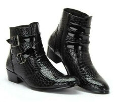 Men's Pointed toe Side Zip Motor Buckle Strap Patent Leather Dress Ankle Boots