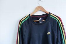 Adidas essential rasta pullover sweater M Black trefoil R/Y/G stripes 2012