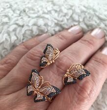 Schmuckset Schmetterlings Ring Ohrringe echt Rotgold 585 / 14k Gold