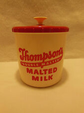 VTG THOMPSON'S MALTED MILK CANISTER CONTAINER W/ LID RED & CREAM PLASTIC 1950's