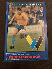 1991 Sheffield Wednesday V Middlesborough Football Programme