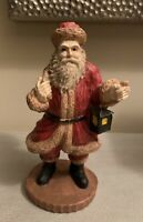"""VINTAGE 1994 ~ SANTA'S COLLECTION ~ 10"""" HAND CRAFTED RESIN SANTA with LANTERN"""
