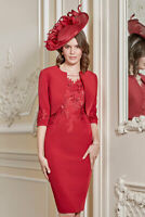 John Charles 26735 Red Mother of The Bride Formal Wedding 3 Piece Dress UK 16 44