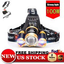 NEW  CREE 30000LM Zoom 3x T6 LED USB Rechargeable Headlamp HeadLight USA CH