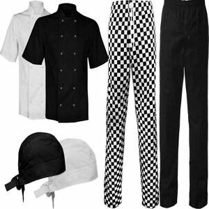 Mens Restaurant Wear Chef Costume Check Trouser Short Sleeve Jacket Coat Bandana
