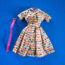 Vintage 1634 BARBIE LEARNS to COOK (1965) SIGNATURE PRINT DRESS & PINK BELT NM