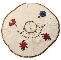 Vintage Handmade Felt Christmas Tree Skirt Applique Sequins Bells Candles Holly