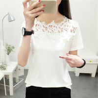 Women's Round Neck Short Sleeve Tops Hollowed Lace Blouse Solid Shirt Casual Tee