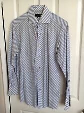 Mens Duck And Cover Blue And White Shirt Size Medium