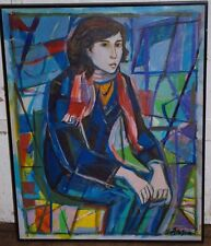 IRVING AMEN OIL PAINTING  LARGE CUBIST PORTRAIT OF A YOUNG WOMAN MODEL