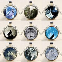Vintage Wolf Cabochon Tibetan Silver Glass Chain Pendant Necklace Jewelry Gift