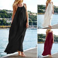 ZANZEA Women Cotton O Neck Summer Cami Strappy Dress Maxi Sundress Party Plus