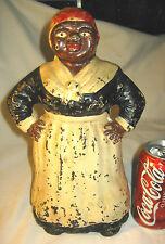 ANTIQUE HUBLEY TOY BLACK AMERICANA MAMMY LADY CAST IRON ART STATUE DOOR DOORSTOP
