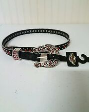 NWT Harley Davidson women's belt with red crystals and silver studs, XXS, #50