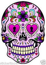 Skull Sugar Pink Heart Eyes Bumper Sticker Day of the Dead 100mm High Car Decal
