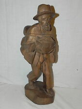 "Vtg Hand Carved Wooden Peddler Carrying A Basket & Goods On His Back 16"" Tall"
