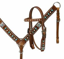 Showman Leather PONY Bridle & Breast Collar Set w/ TURQUOISE Crosses! HORSE TACK