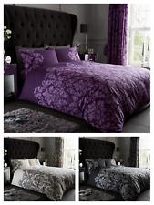 Empire Damask Duvet Quilt Cover & Pillow Case Bedding Set Black Cream Purple