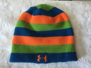 Youth Under Armour Knit Hat, Beanie, One Size Fits All, Orange/Green/Blue Stripe