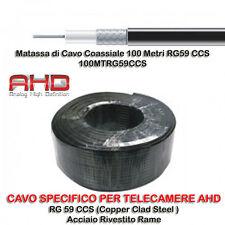 Matassa Cavo Coassiale 100 Metri RG59 CCS per Telecamere AHD + OMAGGIO 10 BNC