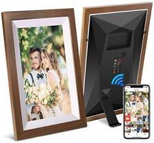 "10.1"" 16GB Smart WiFi Digital Photo Frame, Touchscreen Wood Frame LCD Panel"