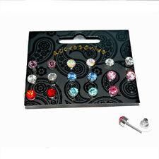 9 paia 6mm Colori Assortiti Cristallo Diamante Sintetico Orecchini A Perno