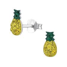 New Crystal Pineapple Sterling Silver Stud Earrings