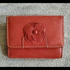 Beautiful Floral Detail Red Leather Wallet New CC coins bills