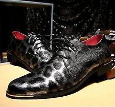 Men's Leopard Print PU Patent Leather Formal Dress Oxford Shoes Metal Border Sz#