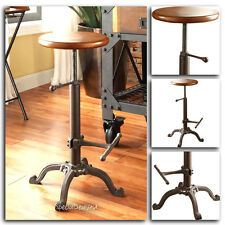 Swivel Bar Stool Industrial Chair Wood Metal Adjustable Set Black Modern Pub New