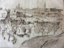 HERMANN STRUCK (1876-1944),Original Etching , Landscape,  New-York, Signed