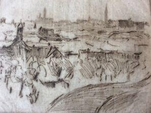 HERMANN STRUCK (1876-1944),Original Etching , Landscape,  New-York, Signed